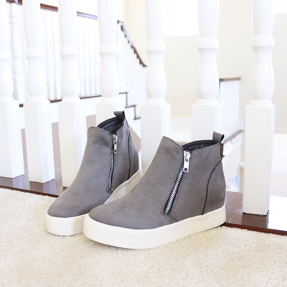 Soda Shoes   Taylor Gray Wedge Sneakers